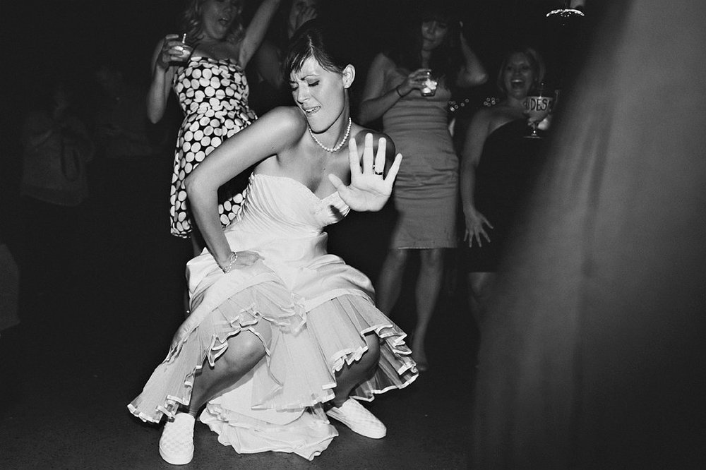 Bride having fun at her wedding